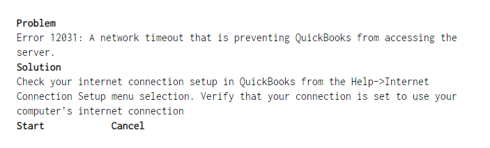 QuickBooks Error 12031