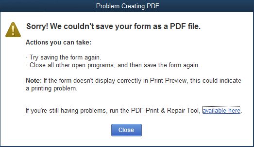 PDF creating Problem - Print and PDF Repair Tool